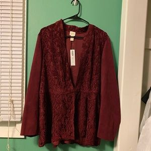 CHICOS Red Suede Lace Long Blazer NWT Size 3